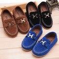 2016 Nova Outono crianças menino sapatos único PU sapatos de couro meninos mocassim preguiçosos sapatos TAMANHO EURO 21-30 Crianças Sneakers