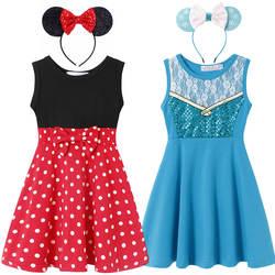 Джесси из истории игрушек, платье принцессы Эльзы Снежной Королевы для девочек 2, 4, 6, 8, 10 лет, хлопковая летняя одежда с Минни, детское