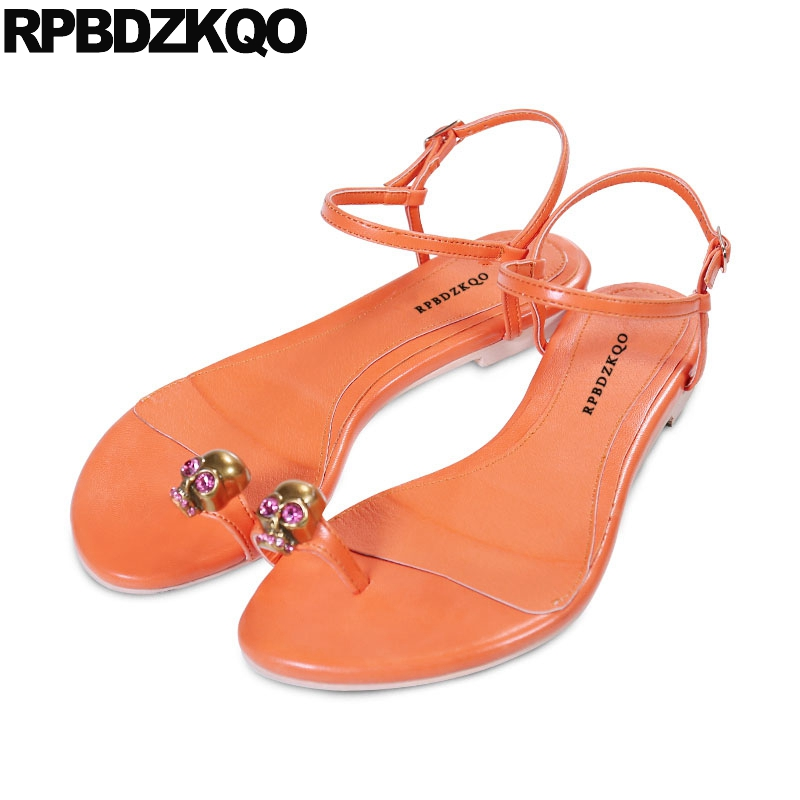 9c70df1411f8b6 Detail Feedback Questions about Runway Toe Ring Two Strap Sandals Beach Rhinestone  Flat Holiday 2018 Crystal Embellished Shoes Orange Diamond Women Skull on  ...