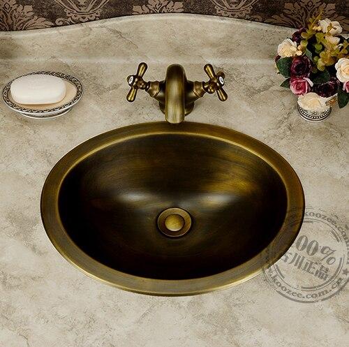 Classic bronzo contatore bacino lavabo bagno d'epoca bacino di rame