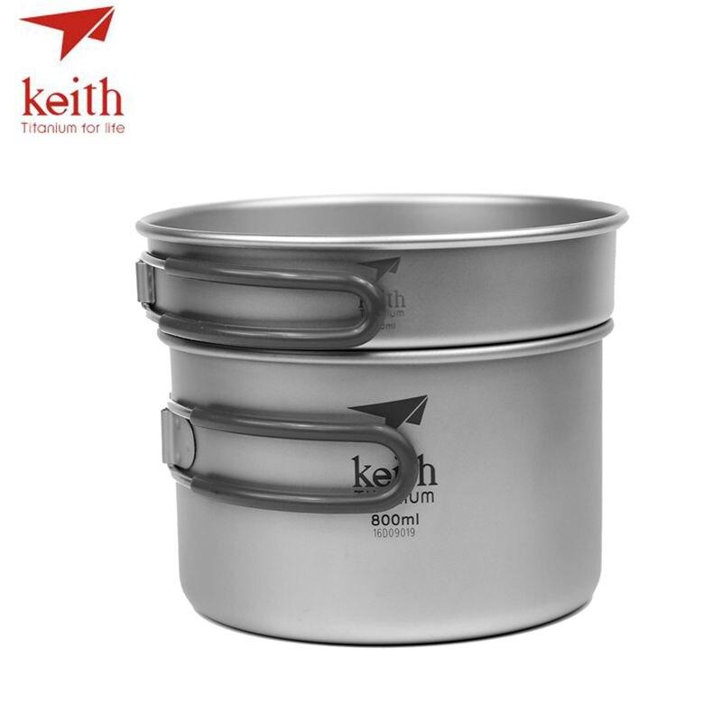 2 in1 keith panela de titanio 400 ml 800 ml pote tigela conjunto com alca dobravel