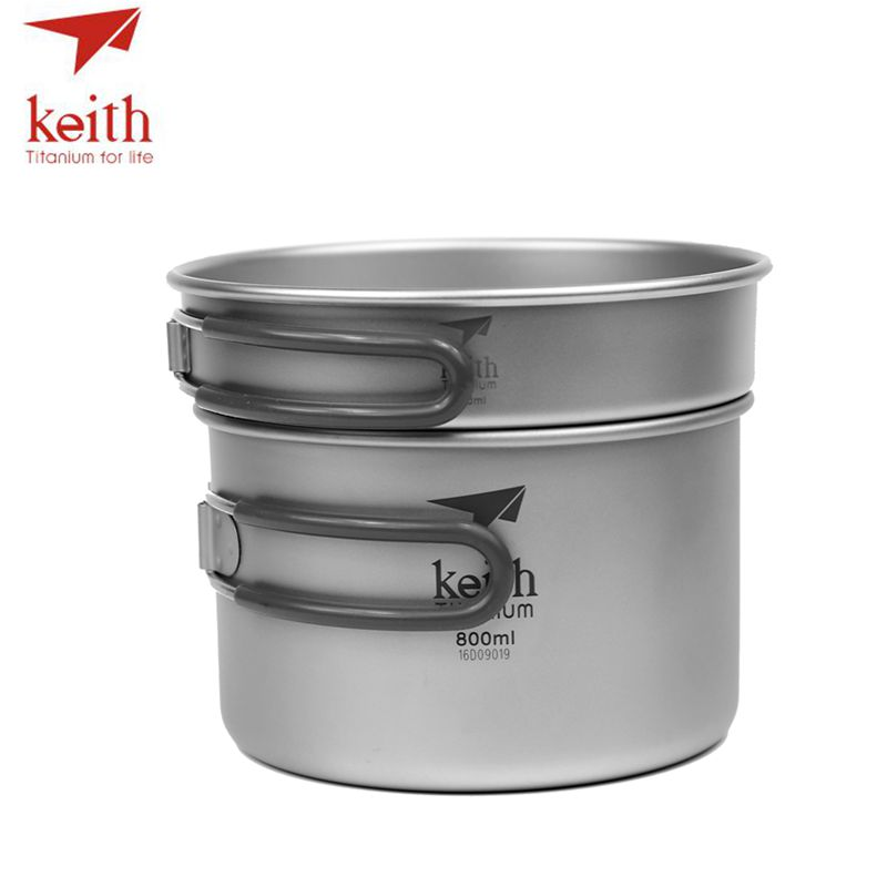 Keith 2 In1 Titanium 400ml Pan 800ml Pot Bowl Set With Folding Handle Cook Set Ultralight Camping Picnic Cookware Utensil Ti6012 keith 3pcs titanium pans bowls set with folding handle cook sets titanium pot set camping hiking picnic cookware utensils ti6053
