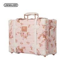 """UNIWALKER 1"""" 13"""" дюймов, водонепроницаемый винтажный Чехол для багажника, сумка для багажа, маленький чехол для костюма, Цветочная декоративная коробка с ремешками для женщин"""
