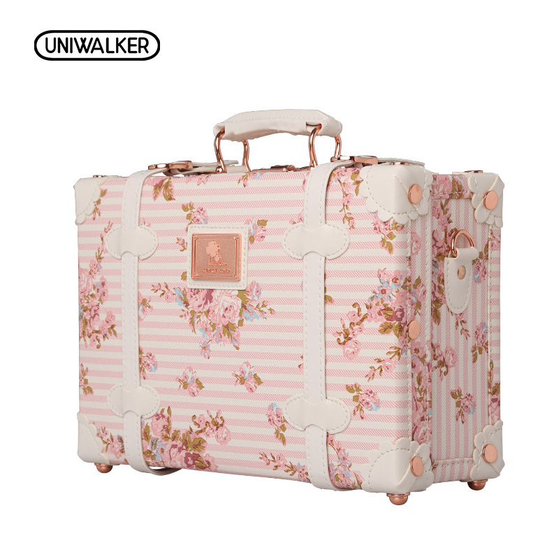 "UNIWALKER 12"" 13"" Inch Waterproof Vintage Trunk Box Case Bag Luggage Small Suitcase Floral Decorative Box with Straps for Women"