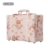 UNIWALKER 12 13 Inch Waterproof Vintage Trunk Box Case Bag Luggage Small Suitcase Floral Decorative Box with Straps for Women