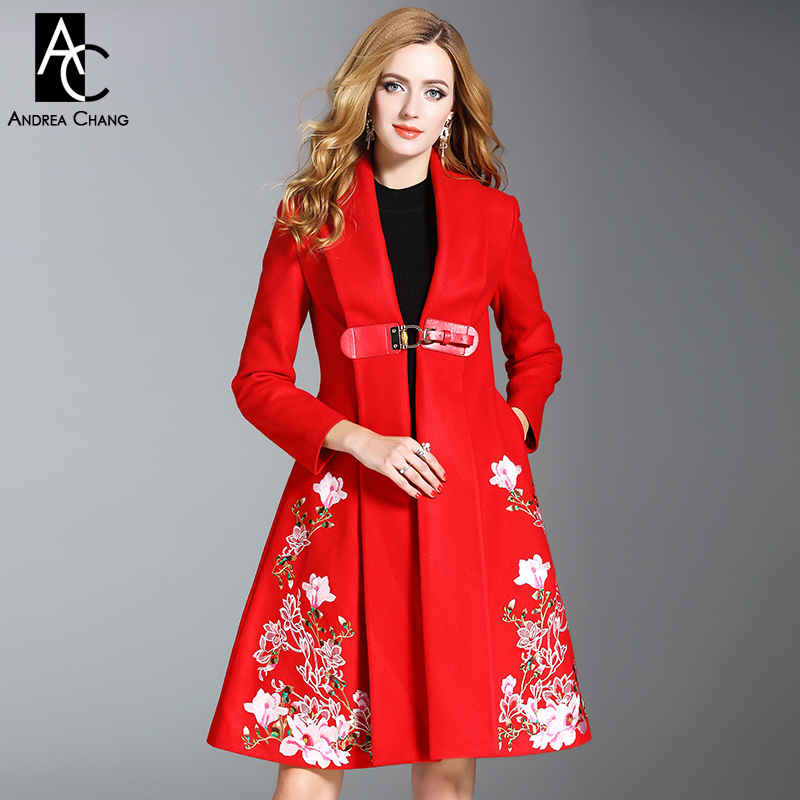 autumn winter woman wool coat with pockets PU belt pink flower pattern embroidery red wool coat skirt style long XXL wool coat fashion red longline coat with belt