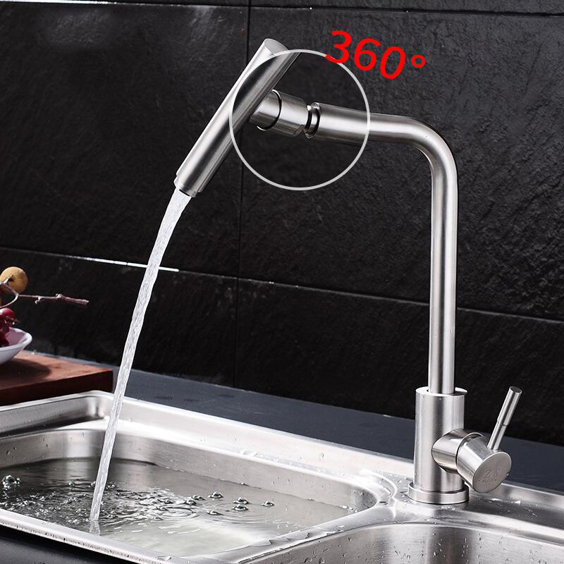 Kitchen Sink Faucet for Double Sink Hot and Cold Mixer Tap Single Hole Brushed Pull Out Spray 304 Stainless Steel Microphone super high quality 304 stainless steel hot and cold no lead brushed basin safe sink kitchen faucet with german technology