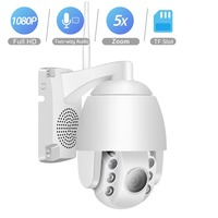 BESDER Outdoor Mini PTZ 5X Optical Zoom IP Camera 1080P Wifi Speed Dome Camera Two way Audio 60M Night Vision Wireless P2P