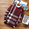 Мужской свитер мода 2017 зима новый мужская повседневная решетки вязать шею Тонкий с длинным рукавом свитера пуловеры Бесплатная доставка