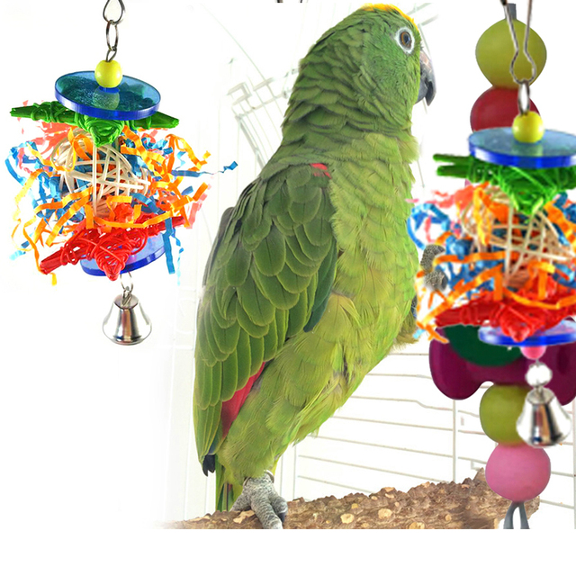 Parrot Bird Toys Colorful Swing Stand Rattan Ball Parrot Toy Bird Bite Pulling Climbing Chew Toys Che Random Color Drop Shipping