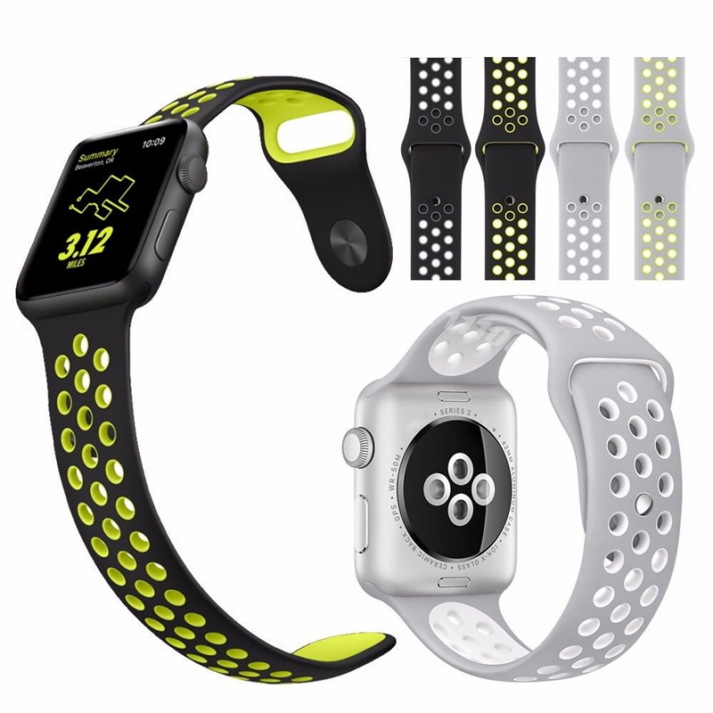 Iphone Watch Bands 50pcs Dhl Silicone Sport Band For Apple Series 2 Replacement Strap