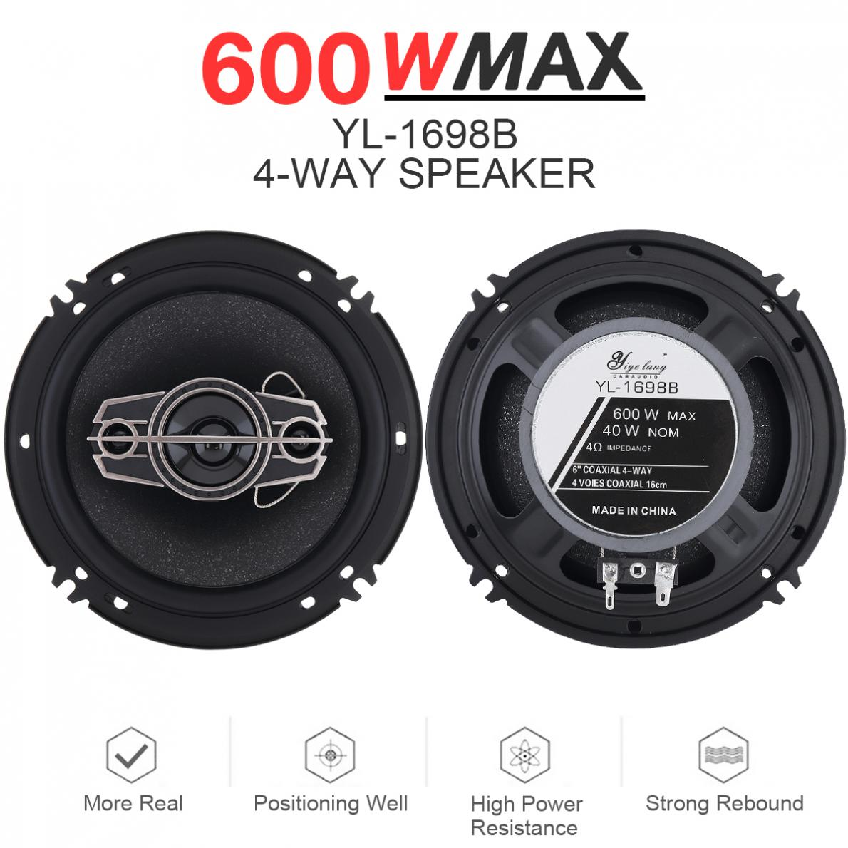2pcs 6.5 Inch 600W 4 Way Universal Car Coaxial Auto Music Stereo Full Range Frequency Hifi Speakers Non-destructive Installation