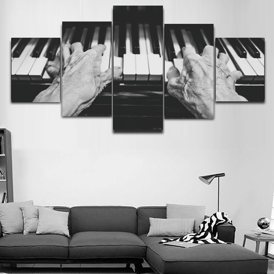 Modern Canvas Painting Wall Art Printed 5 Piece Modular Piano Posters Music Compose Artwork Living Room Studying Room Home Decor image