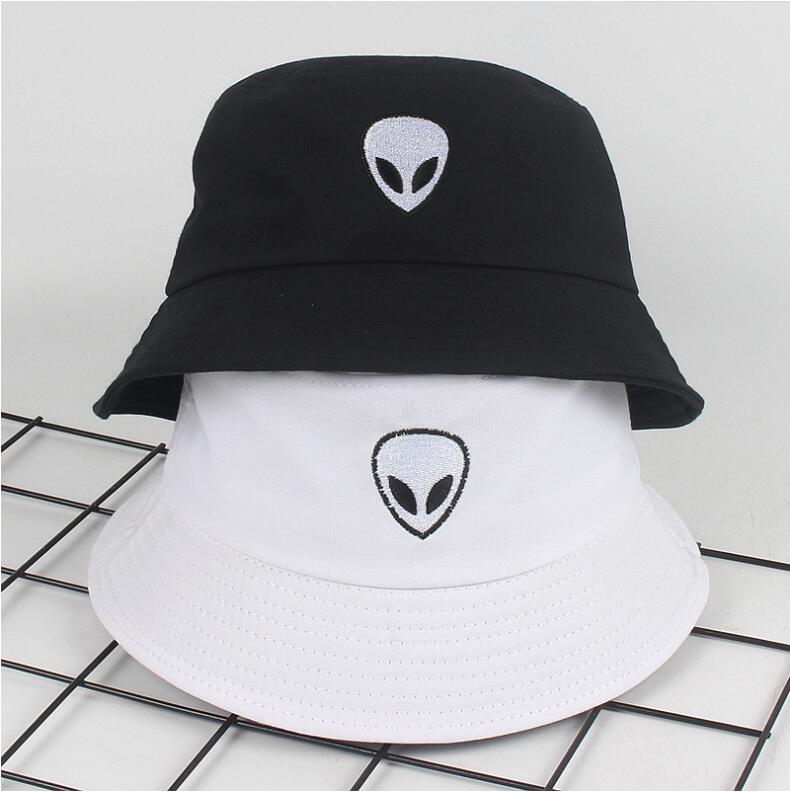 a433bd86b2f 2018 black white solid Alien Bucket Hat Unisex Bob Caps Hip Hop Gorros Men  women Summer