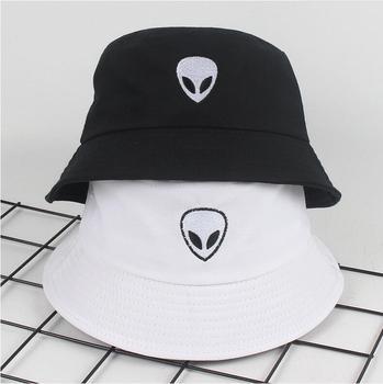 2018 black white solid Alien Bucket Hat Unisex Bob Caps Hip Hop Gorros Men women Summer Panama Cap Beach Sun Fishing boonie Hat