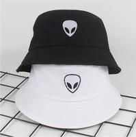 9922322c2af13 2018 black white solid Alien Bucket Hat Unisex Bob Caps Hip Hop Gorros Men women  Summer