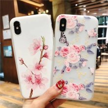 Cyato Floral Phone Case For iPhone 6 6S 7 8 Plus X 3D Relief Fashion Beautiful Flowers clear Soft TPU Back Cover Coque