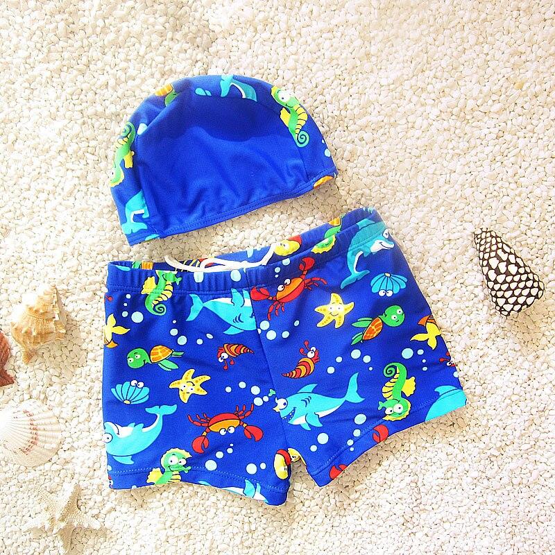 Swimsuits Trousers Trunks Boys Kids Children Cartoon DEO Baby W/Cap