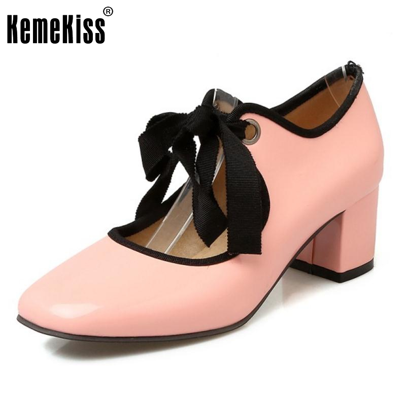 Women High Heels Shoes Women Pumps Patent Leather Cross Strap Thick Heels Square Toe Shoes Sweet Fashion Footwear Size 32-48