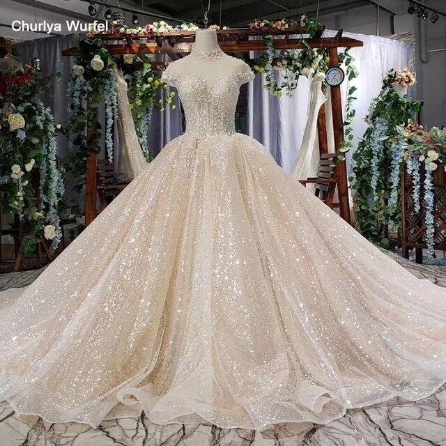 HTL639 brilhantes vestidos de casamento com brilho de alta pescoço cap luva de cristal vestidos de casamento do laço com trem vestidos de novia vindima