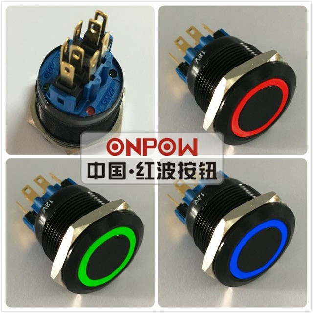 ONPOW 22mm Momentary Tri-color RGB LED ring LED Black aluminium alloy Push Button switch (GQ22-11E/RGB/12V/A/new) CE, RoHS