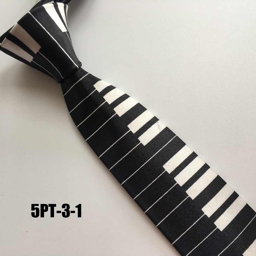 5cm Men Popular Casual Ties Fashion Polyester Necktie Black with White Narrow Piano Keyboard