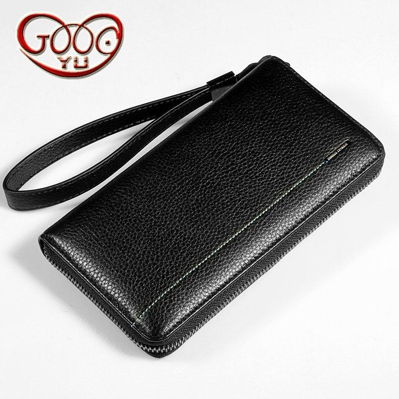 Mens anti-theft multi-card hand holding bag leather hand bag business men zipper bag leather phone bag long wallet