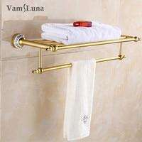60cm Double Tier Wall Mounted Aluminum Alloy Bathroom Towel Holder Bath Towel Shelf Gold plated Bathroom Fixture