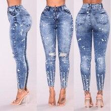bcbe033e92ce05 Zgrywanie mody Jeansy Kobiety Klasyczny Wysokiej Talii Skinny Ołówek  Spodnie Jeansowe Niebieskie łączone Zipper myte dot Jeans k.