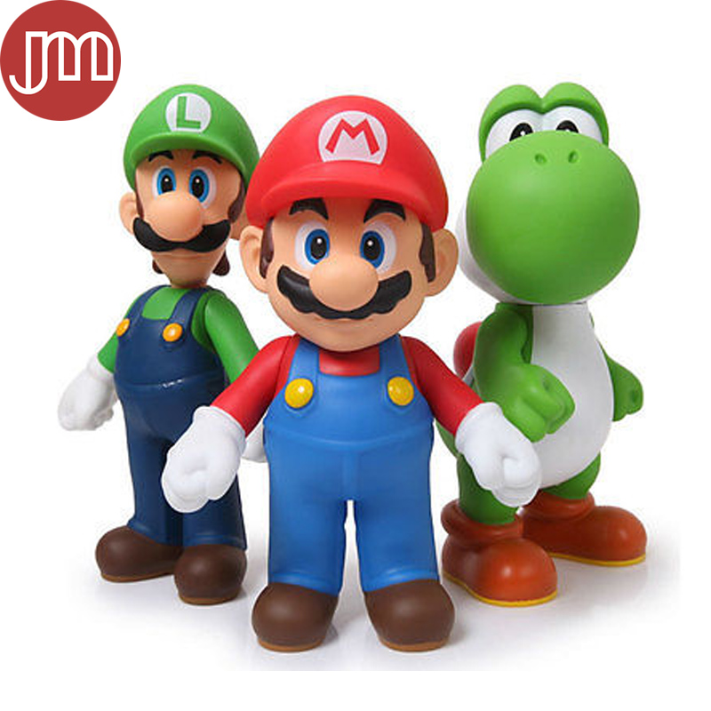 nowy 3 sztuk super mario bros luigi mario yoshi pcv. Black Bedroom Furniture Sets. Home Design Ideas