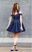 Blue 2019 Homecoming Dresses A line Off The Shoulder Short Mini Satin Backless Elegant Cocktail Dresses
