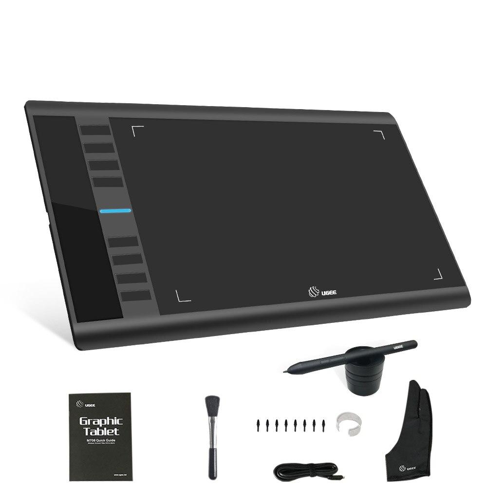 UGEE M708 tableta gráfica Digital 10x6 pulgadas área de dibujo tableta gráfica dibujo 8192 presión mejor Stylus libre con el guante