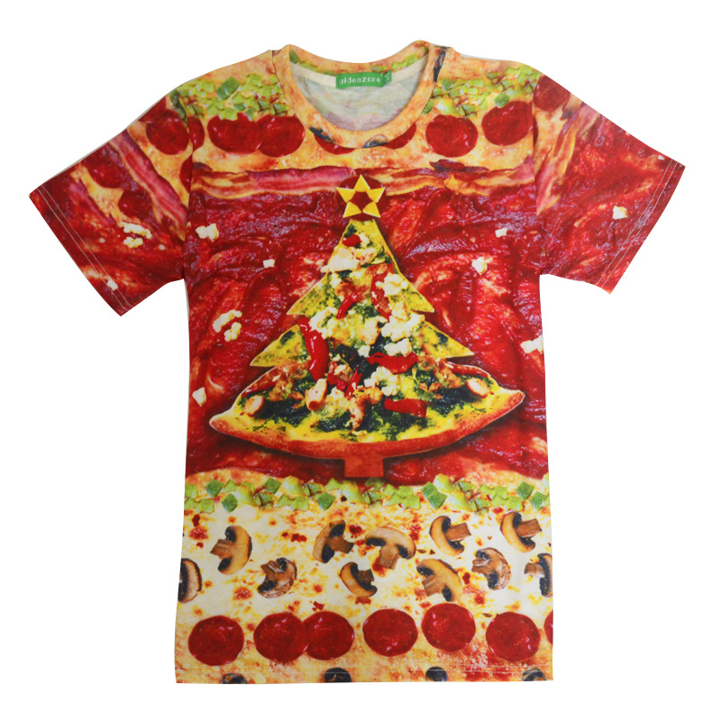2017 casual Pizza Christmas hiphop male concert shirt O-neck sweatshirt 3d print women/men cartoon pullover summer Tees T-shirt