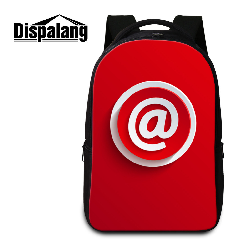 Dispalang Icon Pattern Men Women Laptop Backpacks Red School Bags for Teenagers Boys Girls Large Capacity Laptop Shoulder Bag