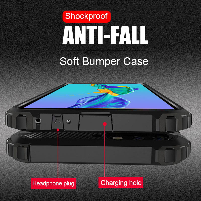 Luxury Armor Soft Bumper Case For Huawei P20 P30 Pro Shockproof Case Cover For Huawei Honor 8x 9 10 20 Mate 20 Lite Phone Case