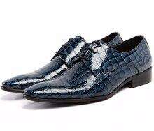 Grande tamanho EUR45 Serpentina moda preto/azul sapatos homens se vestem sapatos de couro genuíno oxfords sapatos de negócios sapatos de casamento do mens