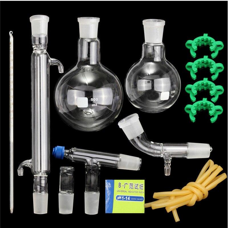 1 Set Distillation Apparatus Laboratory Chemistry Glassware Kit Set With Joints 24/40 Borosilicate Glass 3.3 Round Bottom Flask 300mm 24 29 joint borosilicate glass jacket allihn bulb condenser distillation for laboratory