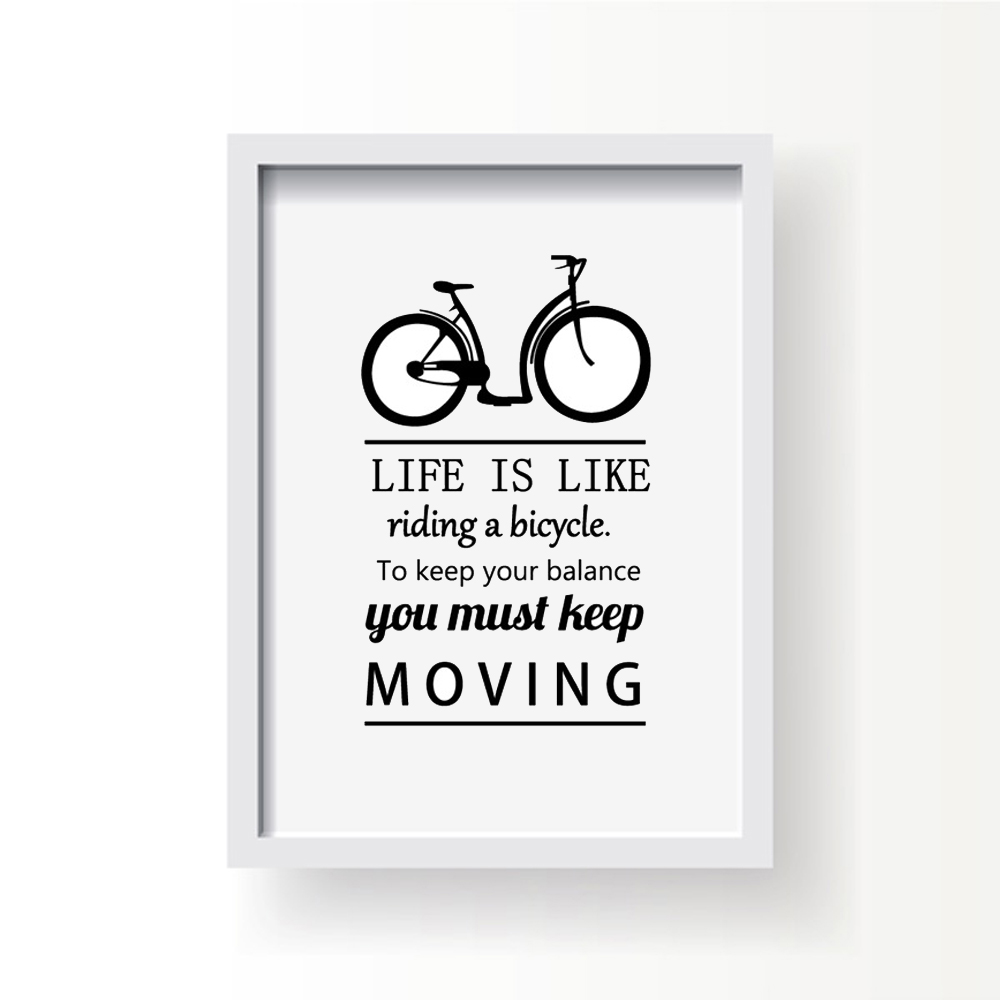 Moving Quote Canvas Prints Riding Bicycle Keep Balance Keep Moving Letters