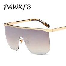PAWXFB 2019 New Luxury Oversized Sunglasses Women Men Brand Designer Big Frames Goggle Rimless One Pieces Gafas de So
