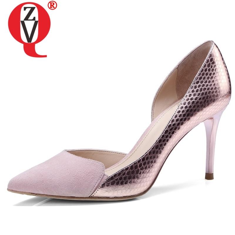 dd28c7ce Cheap ZVQ zapatos mujer 2019 primavera nuevo fahion sexy cuero genuino  mujeres bombas 8 cm tacones