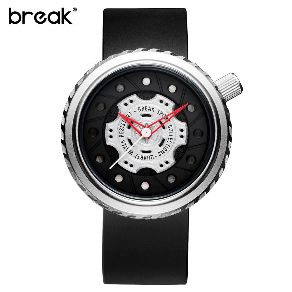 BREAK Luxury Brand Men Crazy Speed Sports Watches Man Rubber Strap Casual Fashion Geek Creative Gift
