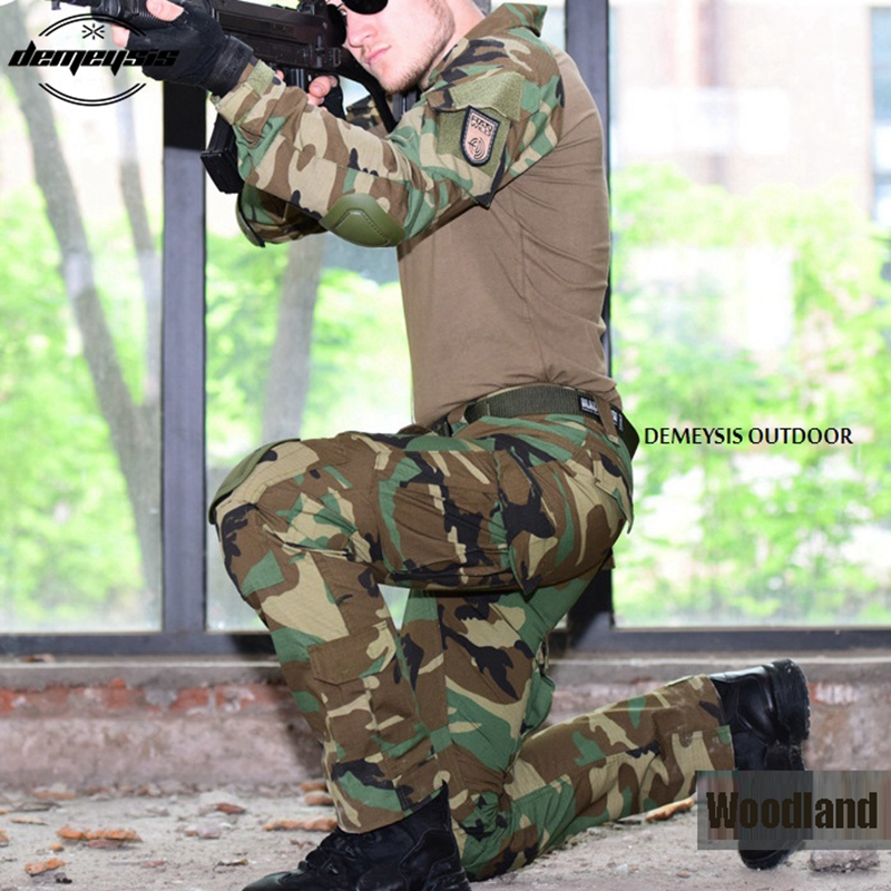 Wooldand Camouflage Military Uniform Clothes Suit Men US Army Multicam Hunting Military Combat Shirt + Cargo Pants Knee Pads mgeg militar tactical cargo pants men combat swat trainning ghillie pants multicam army rapid assault pants with knee pads