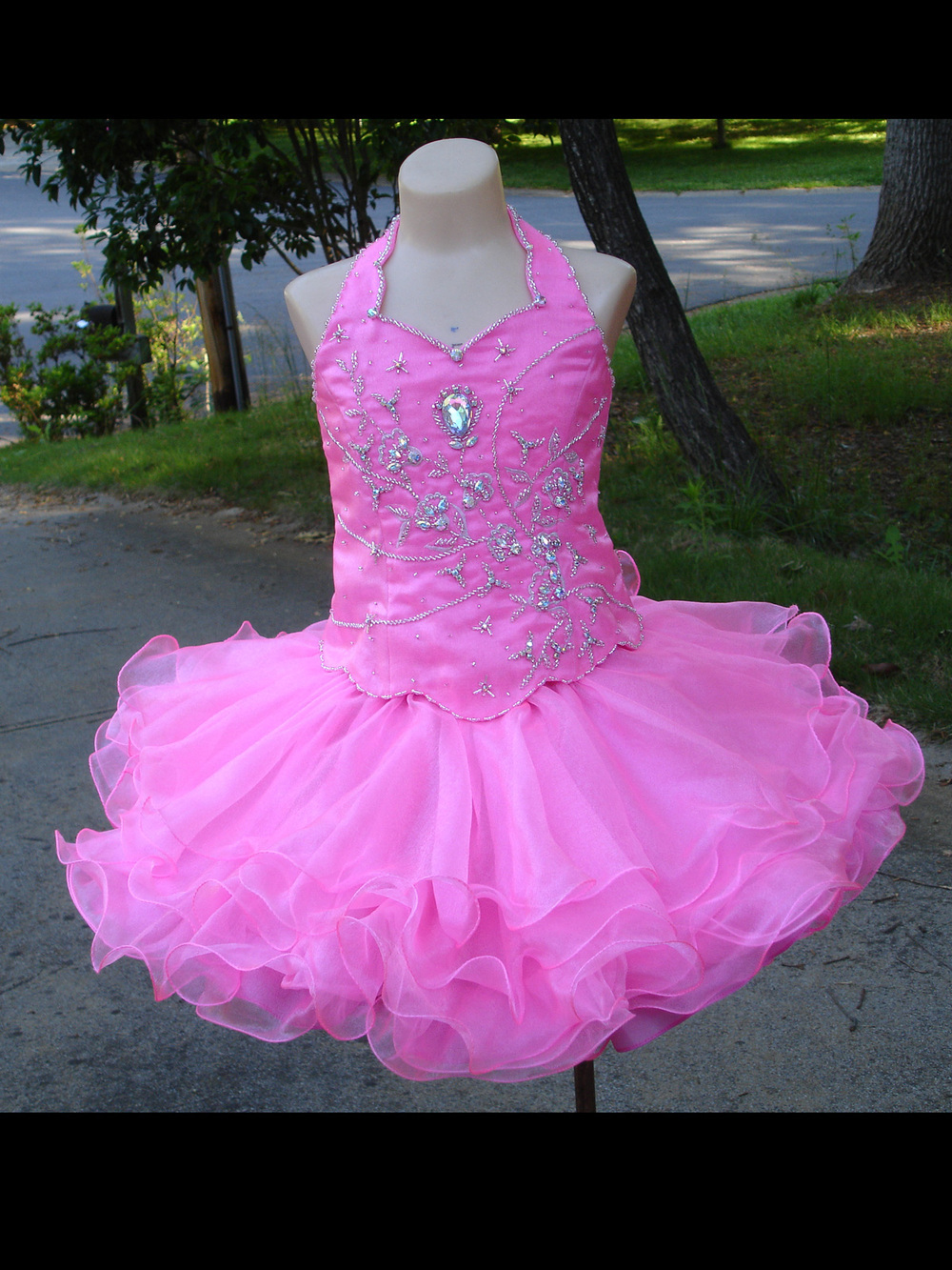 Real Pictures Halter Hot Pink Infant Toddler Ball Gowns Girls ...