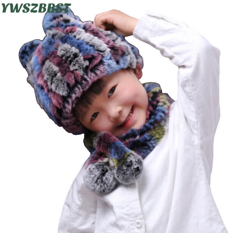 Fashion Rex Rabbit Fur Baby Hat set Baby Hats Girls Kids Hats Boys Winter Baby Cap Children Cap Scarf Collars fit 1 to 7 Age hats