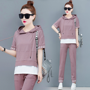Plus Size Two Piece Black Pink Outfits Set for Women Tracksuits Hooded Top and Pants Suits 2020 Summer Sportswear Co-ord Sets pink shining tracksuits women two piece set spring plus size hoodie top and pants set suits casual bodcon 2 piece set