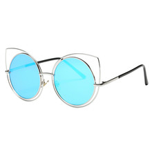 Sunglasses for women Cat Ear Sunglasses Metal Frame Sunglasses Brand Classic Tone Mirror Women's Mirror Sun Glasses Goggle