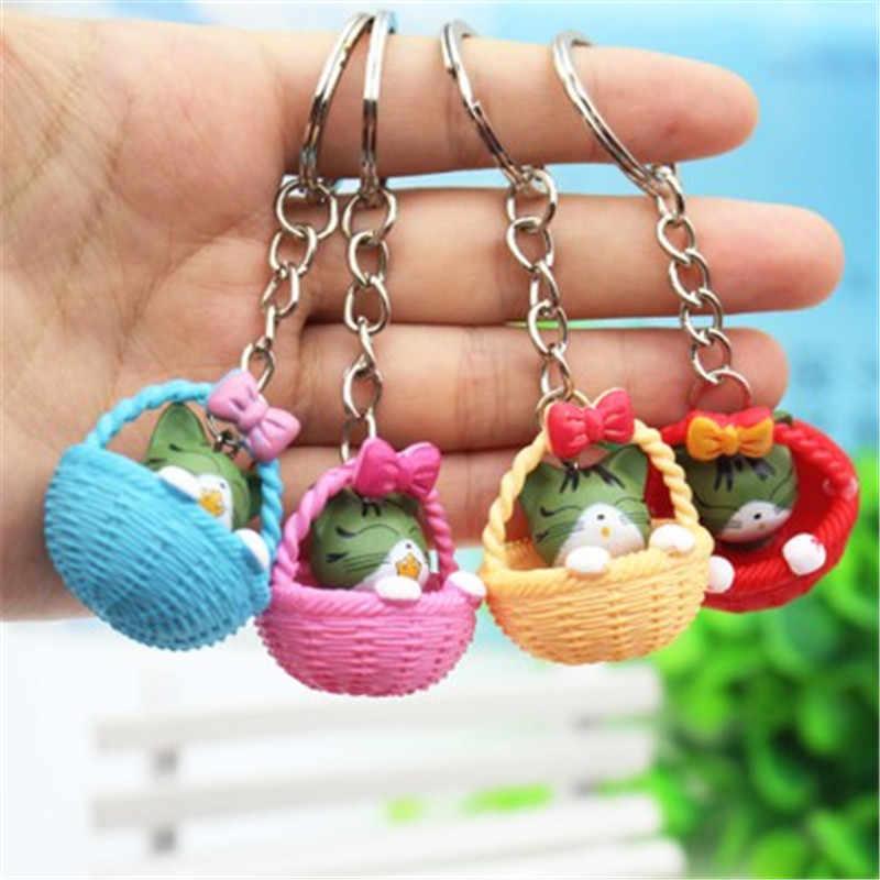 4 pcs/lots aléatoire mixte couleur dessin animé mignon panier et chat porte-clés chaînes pendentif ornement pour sac voiture porte-clés