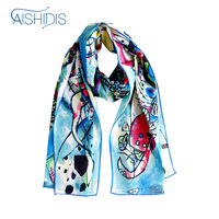 Brand Women 100% Silk Crepe Shawls & Wraps Cool Ring Scarfs Fashion Long Scarf Famous Oil Painting Printed Pattern