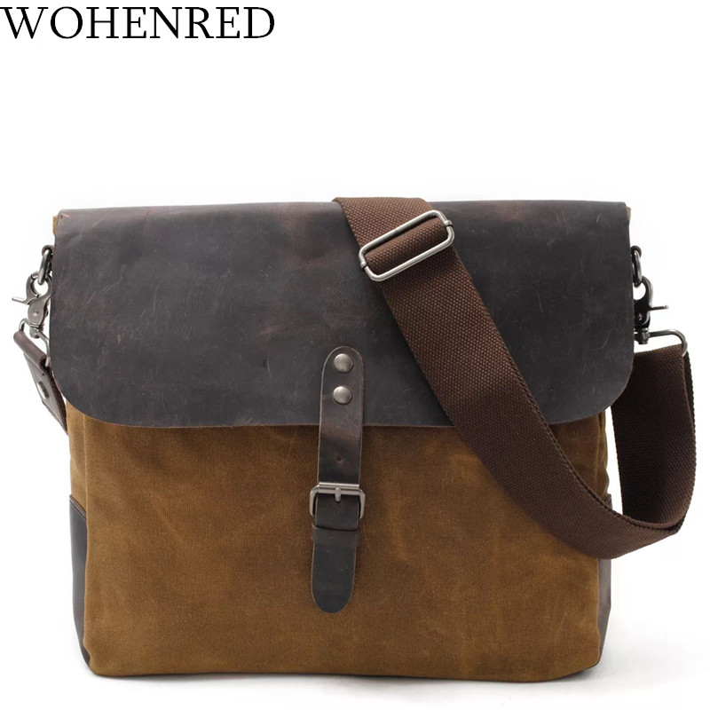 Men Messenger Bags Vintage Leather Waxed Canvas Shoulder Bags For Male Crossbody Bag High Quality Designer Travel Casual Satchel augur fashion men s shoulder bag canvas leather belt vintage military male small messenger bag casual travel crossbody bags