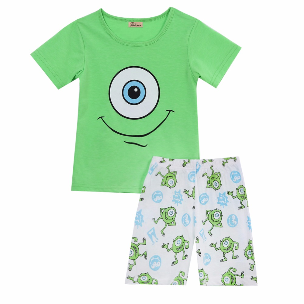 2pc clothing set !!! 2017 bright green big eyes baby boys clothes cartoon short sleeved cotton t-shirt shorts kids outfits 2-7Y